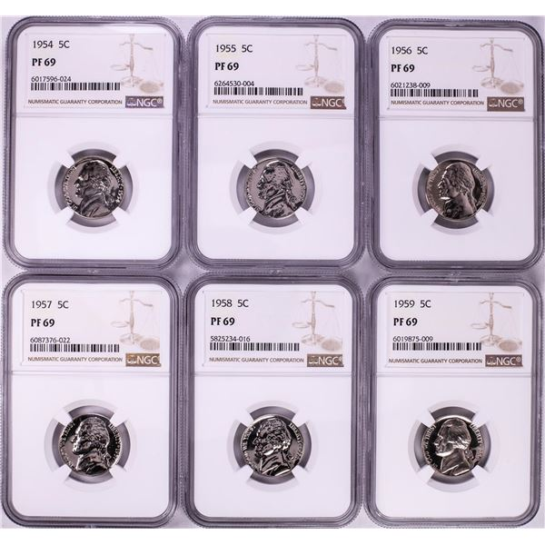 Lot of 1954-1959 Proof Jefferson Nickel Coins NGC PF69