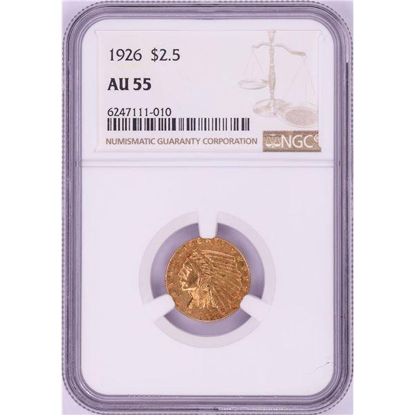 1926 $2 1/2 Indian Head Quarter Eagle Gold Coin NGC AU55