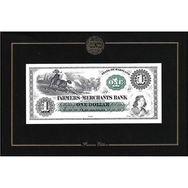 1994 ABN Co. Intaglio Print Farmers & Merchants Bank Greensborough, MD