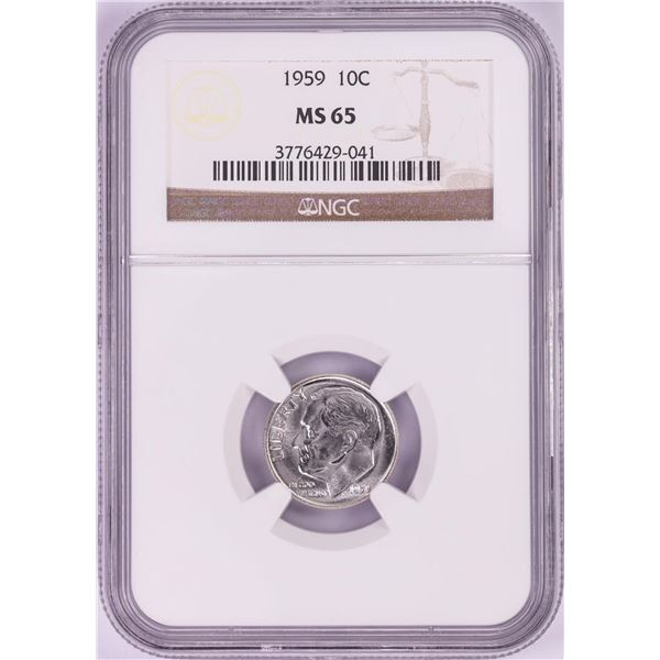 1959 Roosevelt Dime Coin NGC MS65