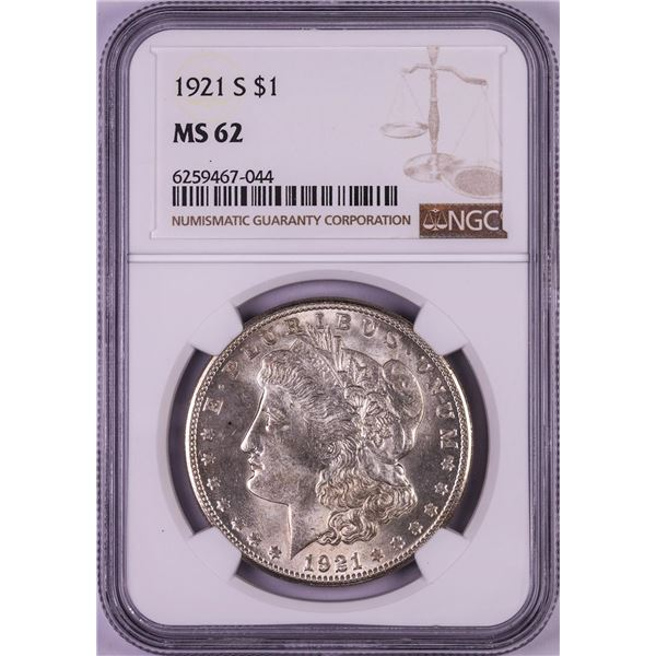 1921-S $1 Morgan Silver Dollar Coin NGC MS62