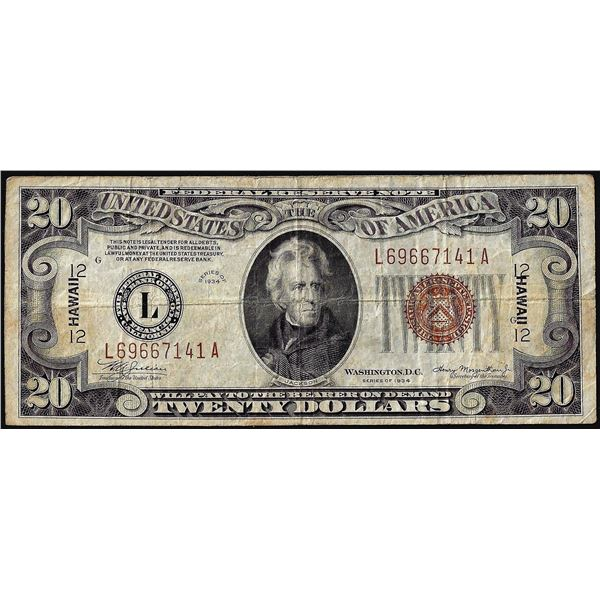 1934A $20 Hawaii WWII Emergency Issue Federal Reserve Note