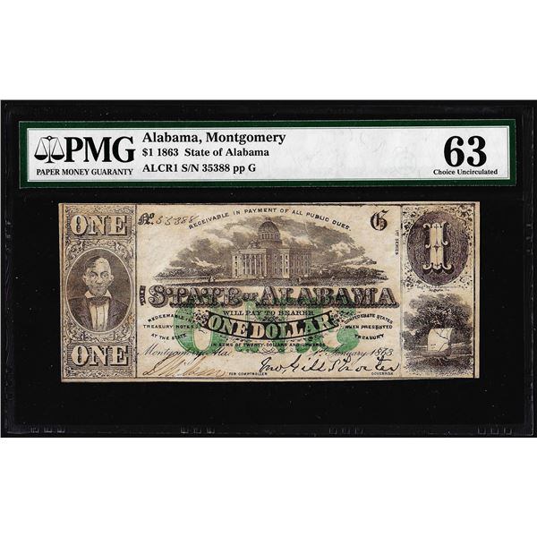 1863 $1 State of Alabama Montgomery Obsolete Note PMG Choice Uncirculated 63