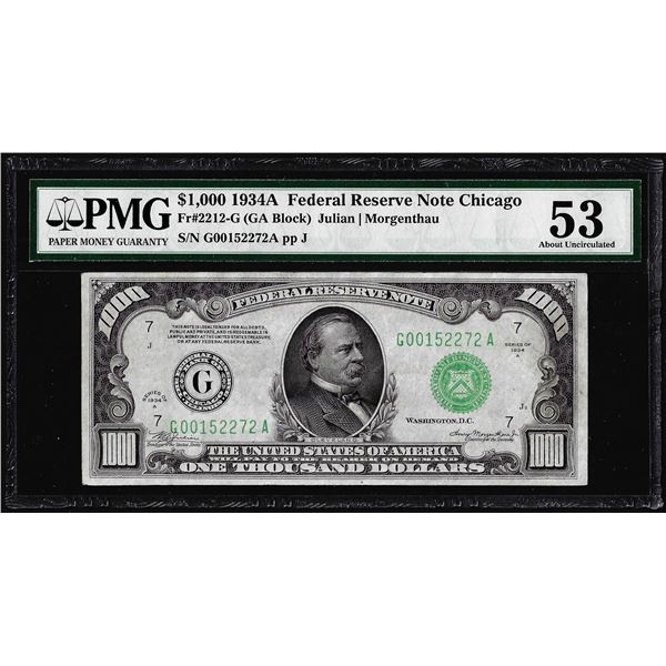 1934A $1,000 Federal Reserve Note Chicago Fr.2212-G PMG About Uncirculated 53