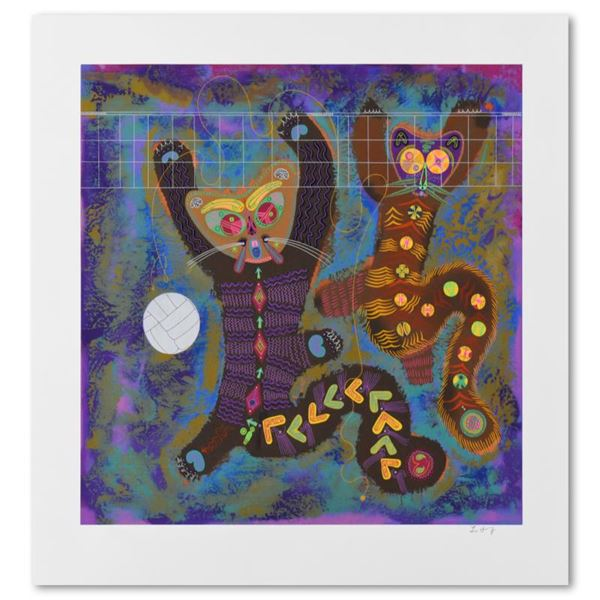 """Lu Hong """"Kitty Camp Playmates (White)"""" Limited Edition Serigraph On Paper"""