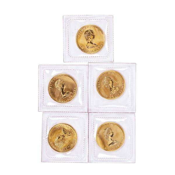 Lot of (5) Sealed 1986 Canadian $5 Maple Leaf Gold Coins