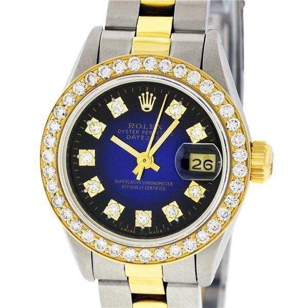 Rolex Ladies Two Tone Blue Vignette VS Diamond Oyster Datejust Wristwatch