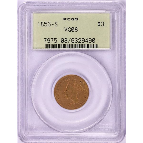 1856-S $3 Indian Princess Head Gold Coin PCGS VG08