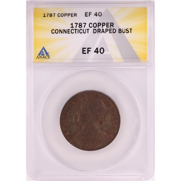 1787 Connecticut Draped Bust Colonial Copper Coin ANACS EF40