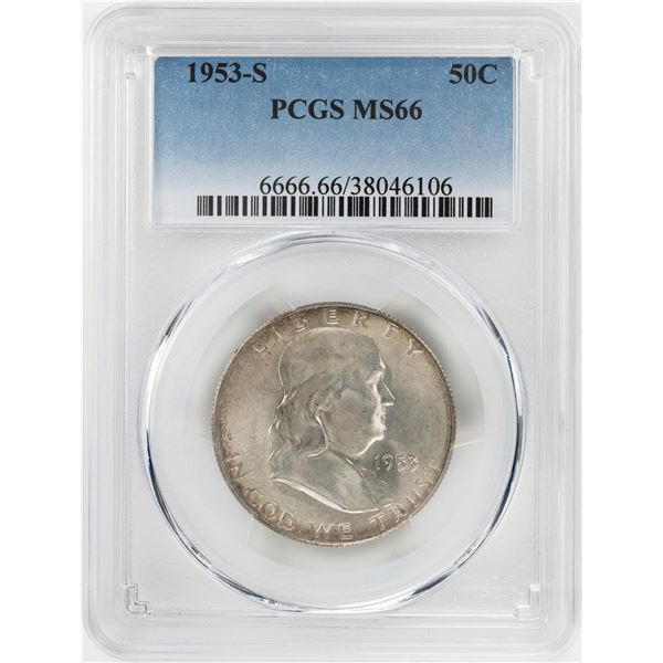 1953-S Franklin Half Dollar Coin PCGS MS66