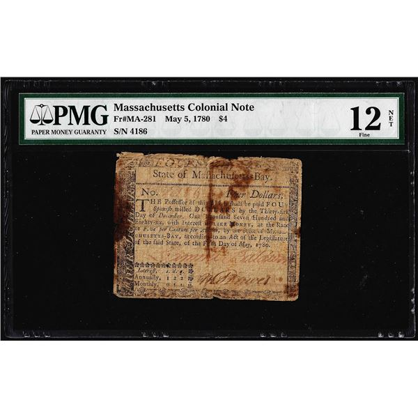 May 5, 1780 Massachusetts $4 Colonial Currency Note MA-281 PMG Fine 12 Net