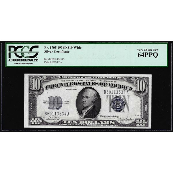 1934D Wide $10 Silver Certificate Note Fr.1705 PCGS Very Choice New 64PPQ