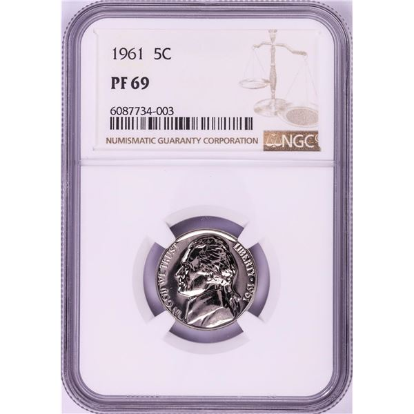 1961 Proof Jefferson Nickel Coin NGC PF69