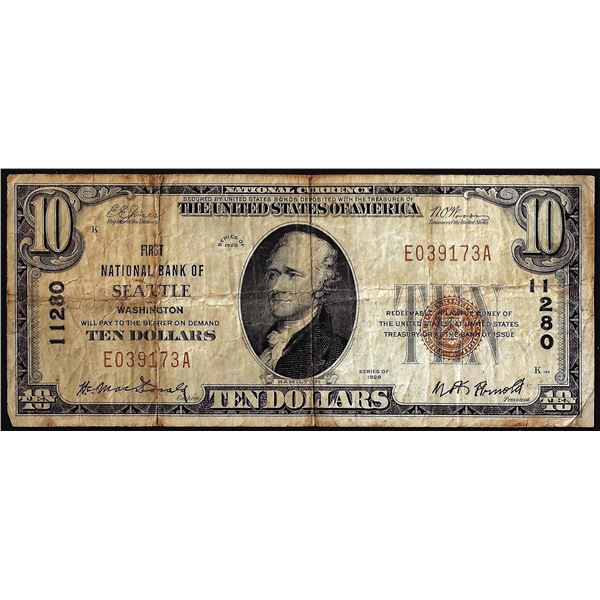 1929 $10 First NB of Seattle, WA CH# 11280 National Currency Note