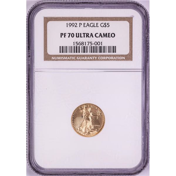 1992-P $5 Proof American Gold Eagle Coin NGC PF70 Ultra Cameo