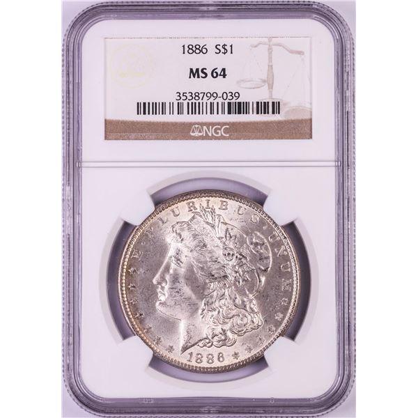 1886 $1 Morgan Silver Dollar Coin NGC MS64 Nice Toning