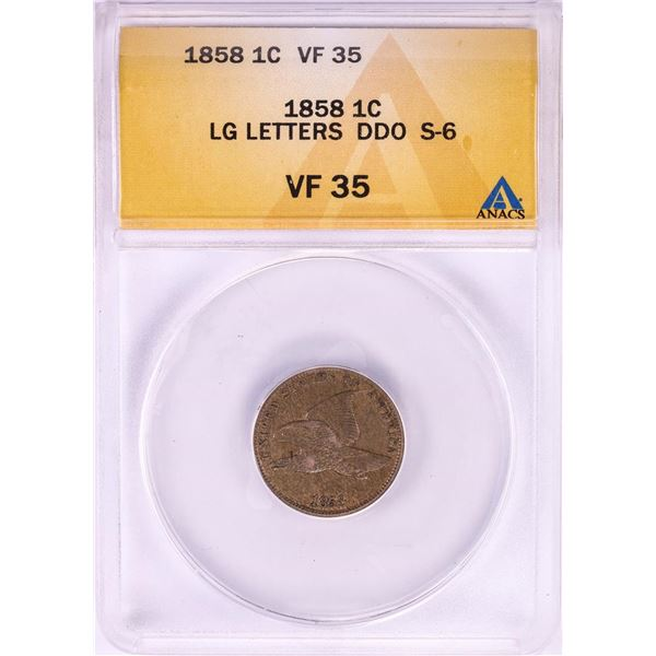 1858 Large Letters Doubled Die Obverse Flying Eagle Cent Coin ANACS VF35 S-6