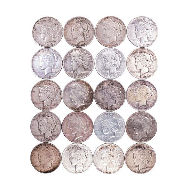 Roll of (20) 1934-D/S $1 Peace Silver Dollar Coins