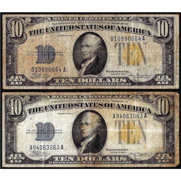 Lot of (2) 1934A $10 North Africa WWII Emergency Issue Silver Certificate Notes