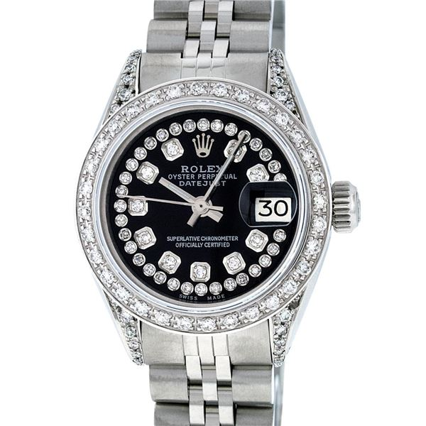 Rolex Ladies Quickset Stainless Steel Black Diamond Datejust Wristwatch