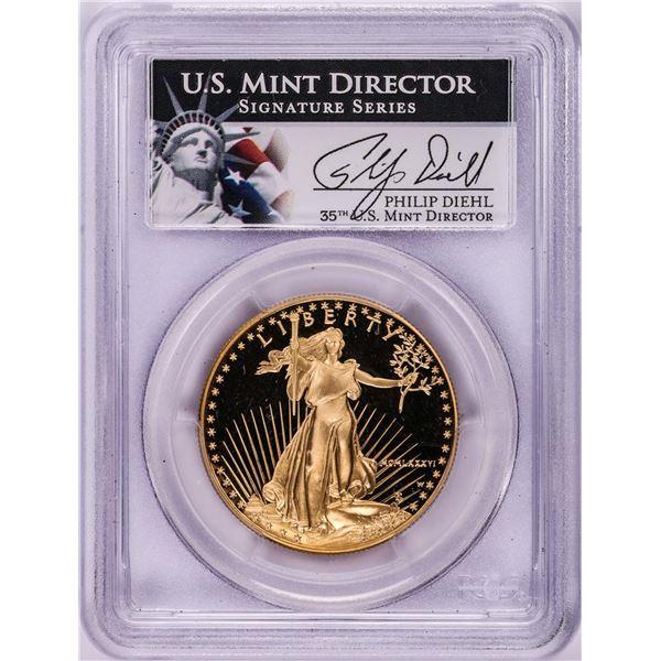 1986-W Proof $50 American Gold Eagle Coin PCGS PR69DCAM Philip Diehl Signature
