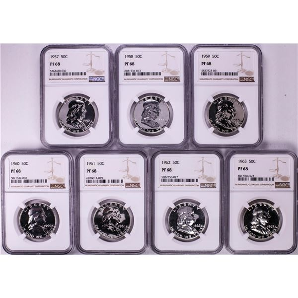 Lot of 1957-1963 Proof Franklin Half Dollar Coins NGC PF68