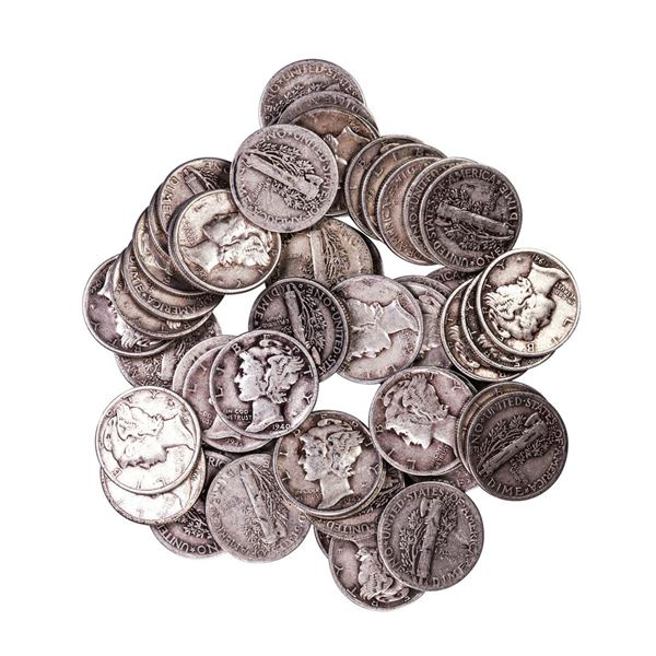Lot of (50) Assorted Date Mercury Dime Coins