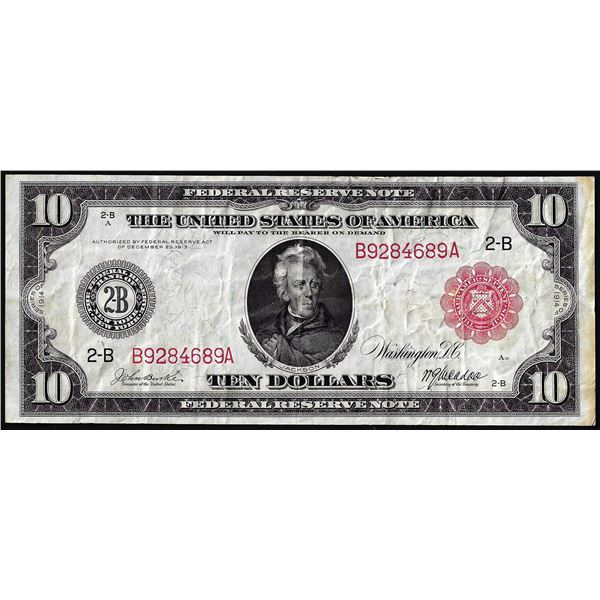 1914 $10 Federal Reserve Note New York Red Seal