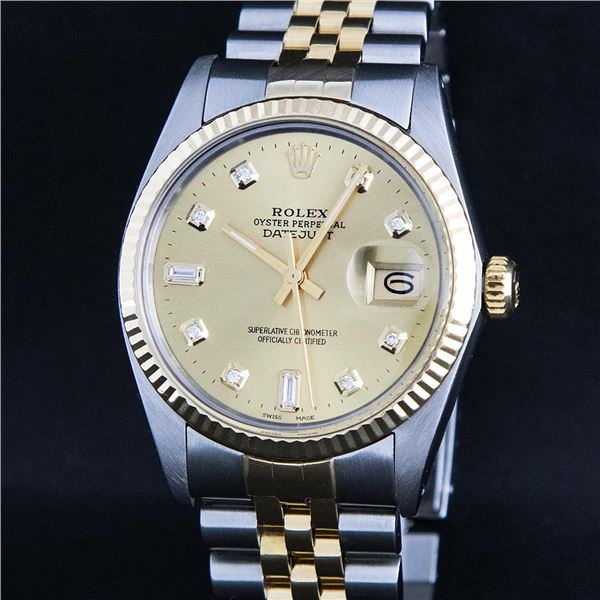 Rolex Men's Two Tone Champagne Diamond Datejust Oyster Perpetual Wristwatch
