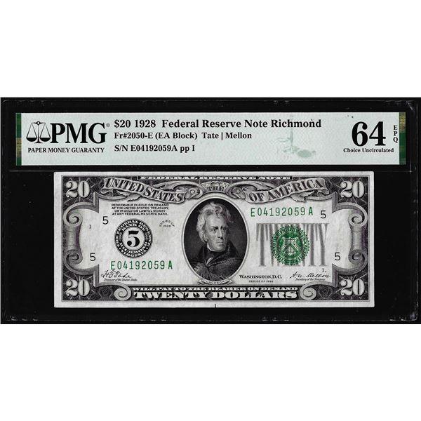 1928 $20 Federal Reserve Note Richmond Fr.2050-E PMG Choice Uncirculated 64EPQ