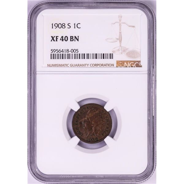 1908-S Indian Head Cent Coin NGC XF40BN