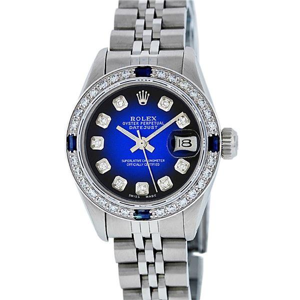 Rolex Ladies Stainless Steel Blue Vignette Diamond & Sapphire Datejust Watch
