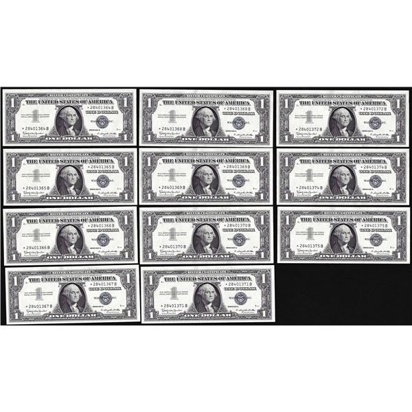 Lot of (11) Consecutive Uncirculated 1957B $1 Silver Certificate Star Notes