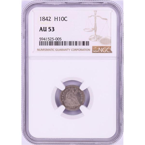 1842 Seated Liberty Half Dime Coin NGC AU53