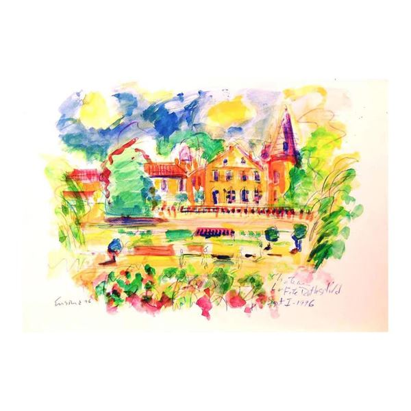 "Ensrud ""Chateau Lafite-Rothschild"" Original Mixed Media On Paper"