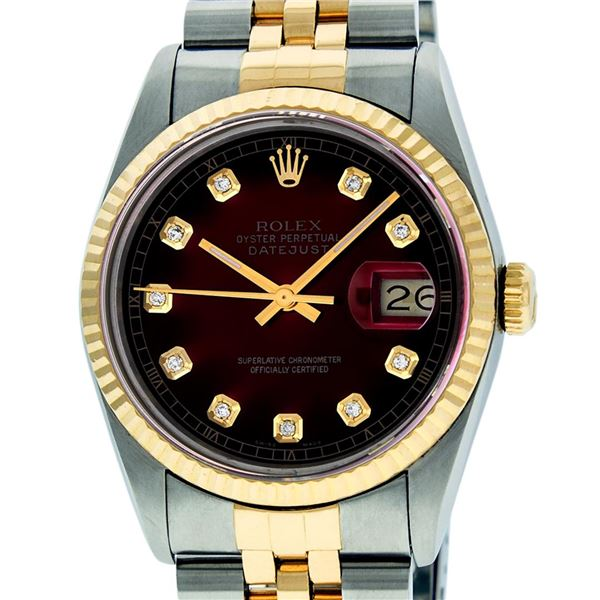 Rolex Men's Two Tone Red Vignette Diamond Oyster Perpetual Datejust Wristwatch