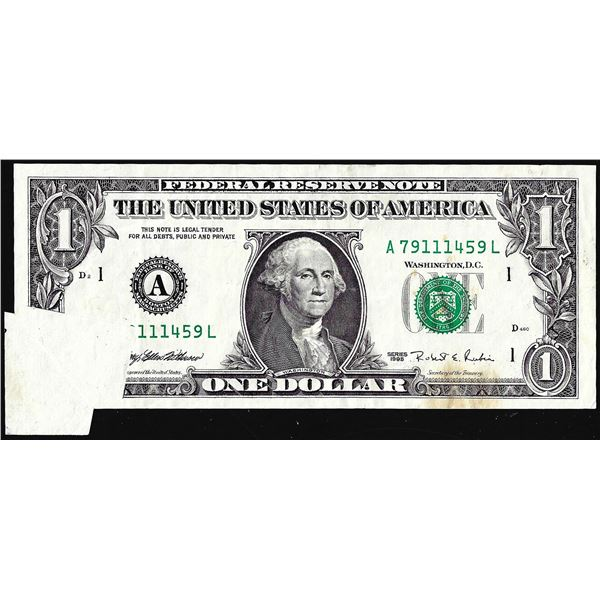 1995 $1 Federal Reserve Butterfly Fold Over Error Note Boston