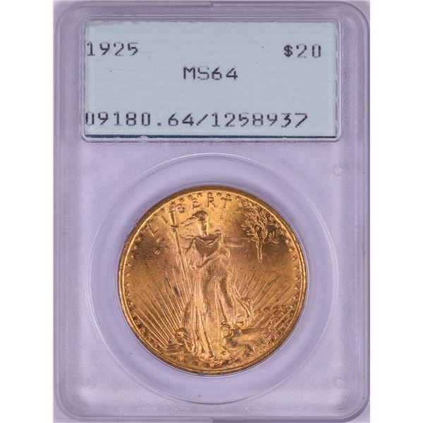 1925 $20 St. Gaudens Double Eagle Gold Coin PCGS MS64 Green Rattler Holder