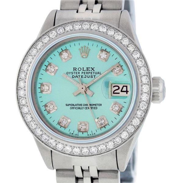 Rolex Ladies Stainless Steel Ice Blue Diamond Datejust Wristwatch