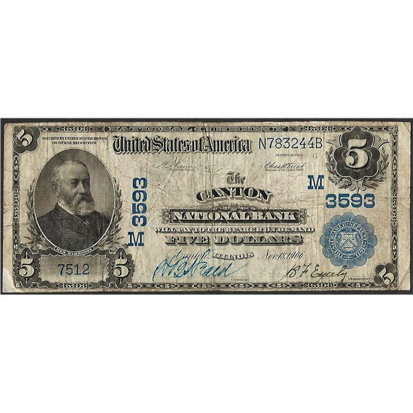 1902PB $5 Canton National Bank, Illinois CH# 3593 National Currency Note