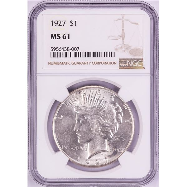 1927 $1 Peace Silver Dollar Coin NGC MS61