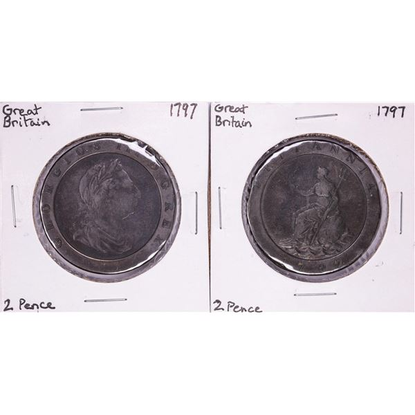 Lot of (2) 1797 Great Britain 2 Pence Coins