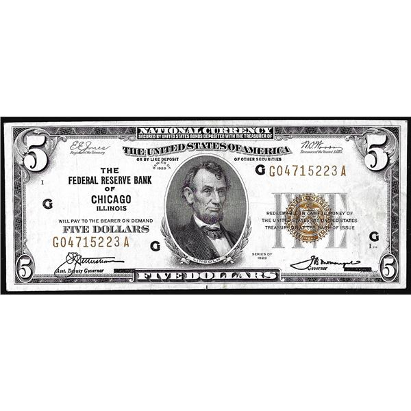 1929 $5 Federal Reserve Bank Note Chicago