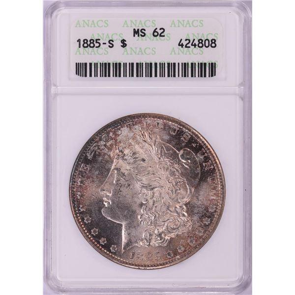 1885-S $1 Morgan Silver Dollar Coin ANACS MS62