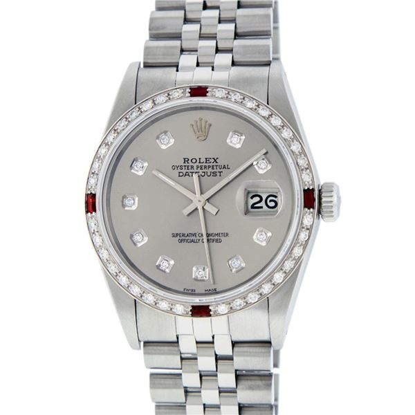 Rolex Men's Stainless Steel Gray Diamond & Ruby Oyster Perpetual Datejust Wristwatch