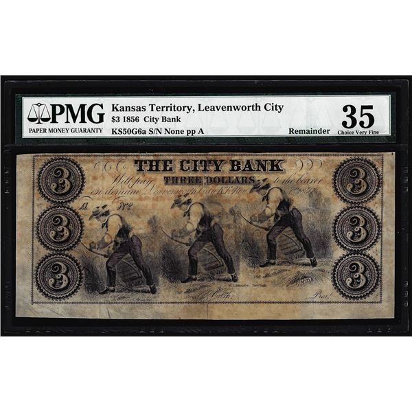 1856 $3 The City Bank Leavenworth City, KT Obsolete Note PMG Choice Very Fine 35