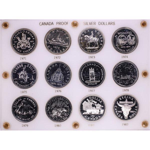 1971-1982 Proof $1 Canada Commemorative Silver Dollar Coin Sets in Capital Plastic