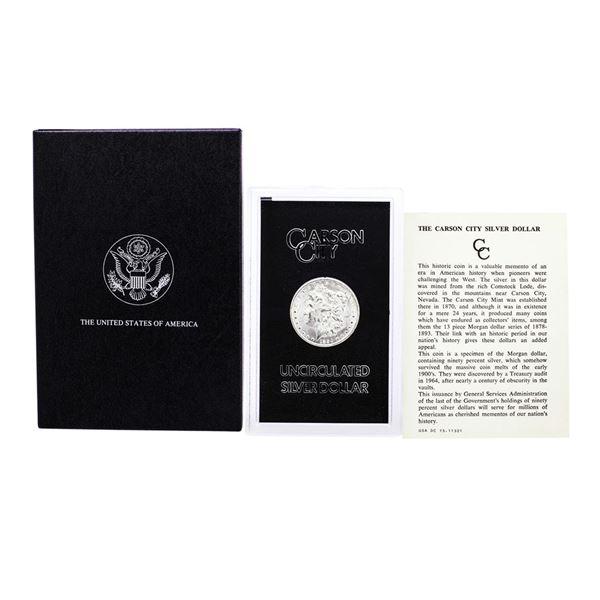 1884-CC $1 Morgan Silver Dollar Coin GSA Hoard Uncirculated with Box