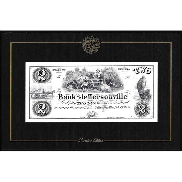 1994 American Bank Note Company Intaglio Print Bank of Jeffersonville, IN