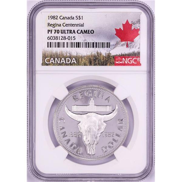 1982 $1 Proof Canada Regina Centennial Silver Dollar Coin NGC PF70 Ultra Cameo